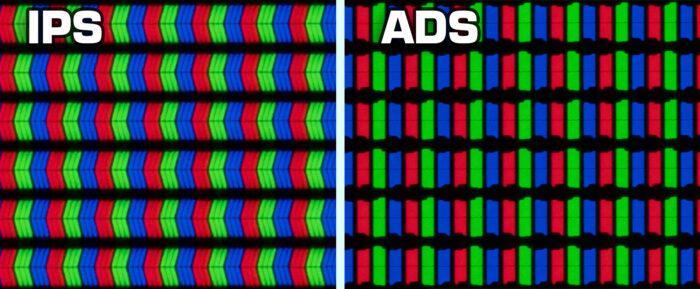 ADS ir IPS matrica